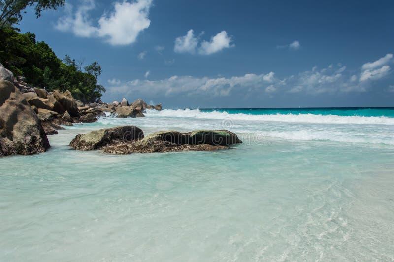 Constance Lemuria plaża, Seychelles obraz royalty free