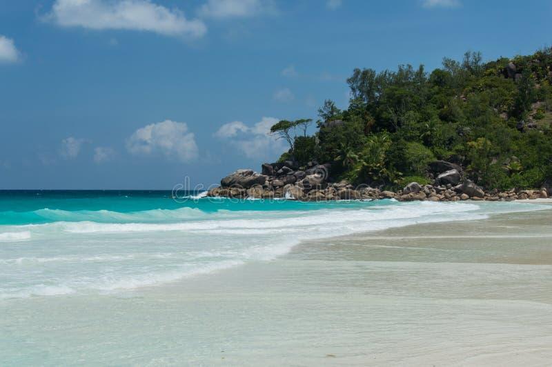 Constance Lemuria plaża, Seychelles obrazy stock