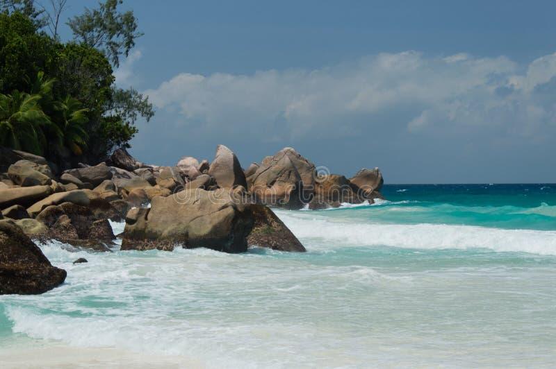 Constance Lemuria plaża, Seychelles fotografia stock