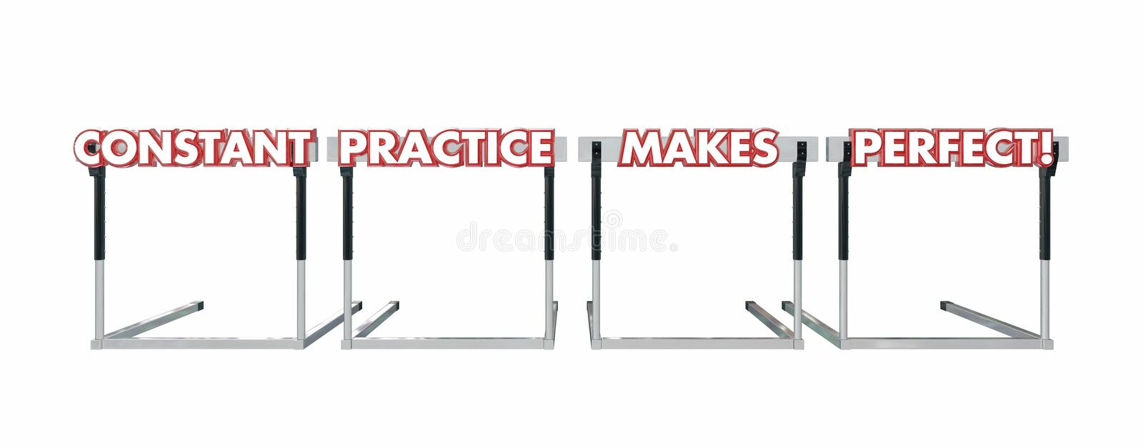 Constant Practice Makes Perfect Jumping Over Hurdles. Words stock illustration