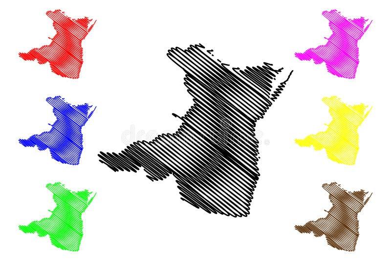 Constanta klottrar st?ndsm?ssiga administrativa uppdelningar av Rum?nien, f?r region?versikt f?r utveckling Sud-Est illustration  vektor illustrationer