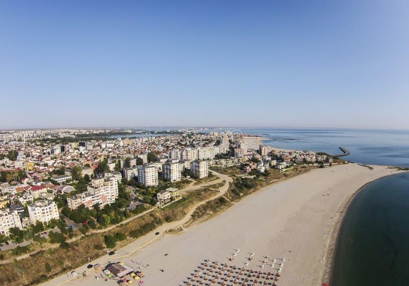 Constanta, Tomis-Strand, Roemenië, luchtmening royalty-vrije stock fotografie