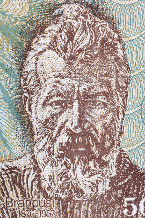 Constantin Brancusi portrait. From Romanian money stock image