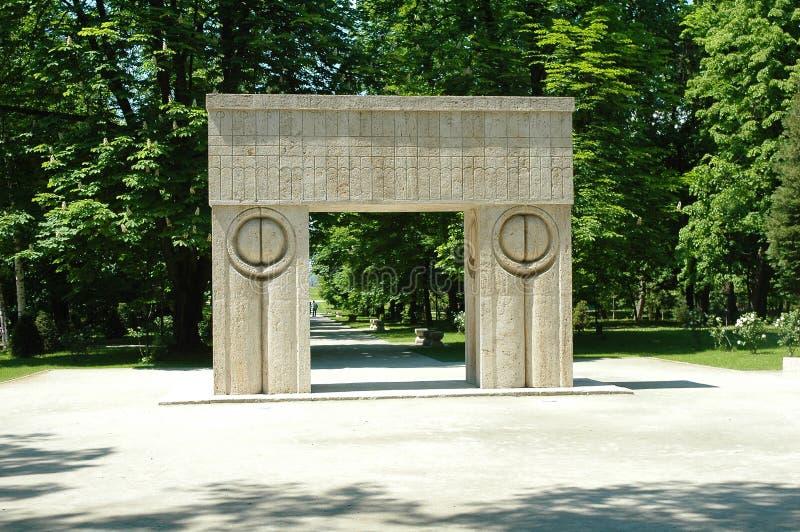 Constantin Brancusi's kissing gate. Constantin Brancusi was a Romanian sculptor royalty free stock images