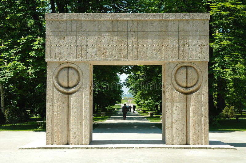 Constantin Brancusi's kissing gate. Constantin Brancusi was a Romanian sculptor royalty free stock photography