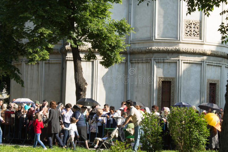 Constantine Brancoveanu procession: people waiting in line royalty free stock photography