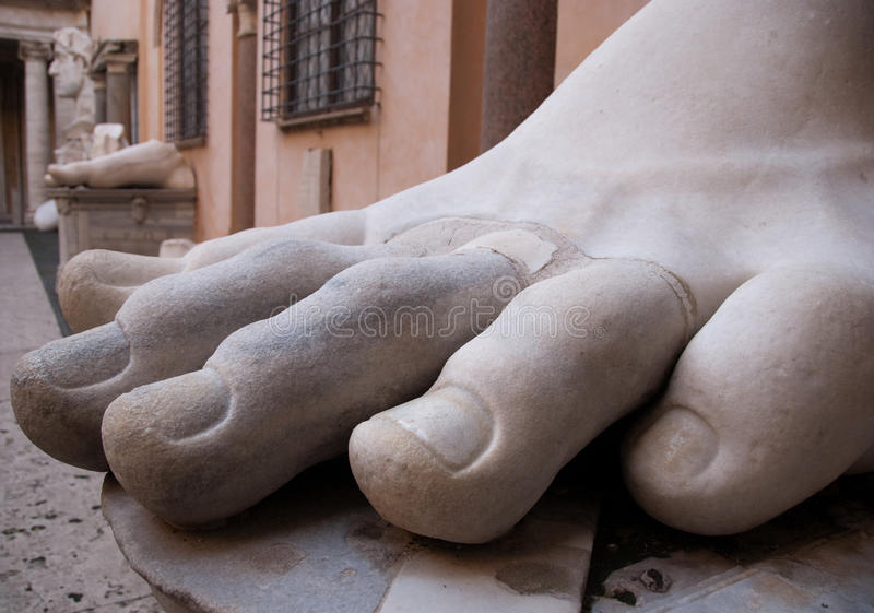 Constantine's Foot. A marble statue piece of Constantine's foot displayed in the Capitoline Museums in Rome royalty free stock photography