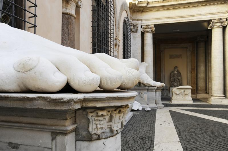 Constantine`s Foot. This is part of what was once a giant marble sculpture of Emperor Constantine. It along, with the other parts. Are in the courtyard of the stock photo