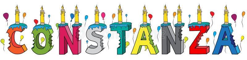 Constanza θηλυκό κέικ γενεθλίων ονόματος δαγκωμένο ζωηρόχρωμο τρισδιάστατο γράφοντας με τα κεριά και τα μπαλόνια διανυσματική απεικόνιση