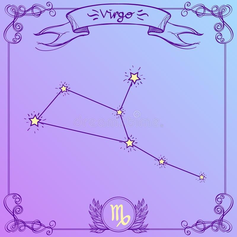 Constelação da Virgem em um fundo roxo Representação esquemática dos sinais do zodíaco ilustração royalty free