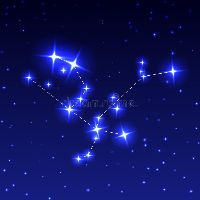 A constelação de Andromeda no céu estrelado da noite Ilustração do vetor do conceito da astronomia ilustração do vetor