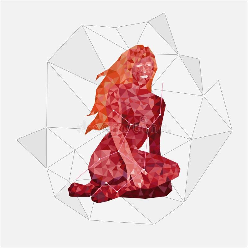Constelação de assento vermelha da Virgem da videira com uma linha de estrelas em um fundo cinzento no estilo poligonal ilustração royalty free