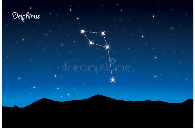 Constelação de Delphinus ilustração royalty free