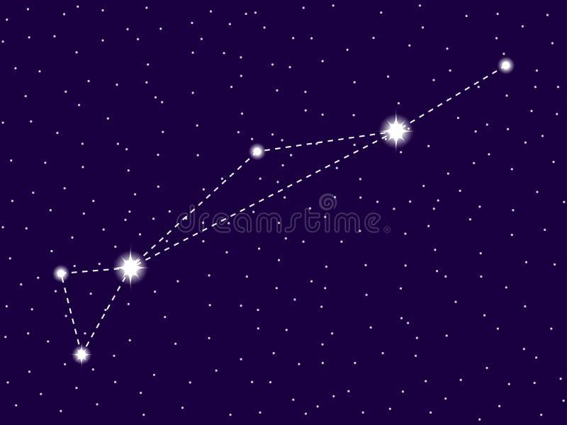 Constelação de Dorado C?u nocturno estrelado Conjunto de estrelas e de galáxias Espa?o profundo Vetor ilustração royalty free