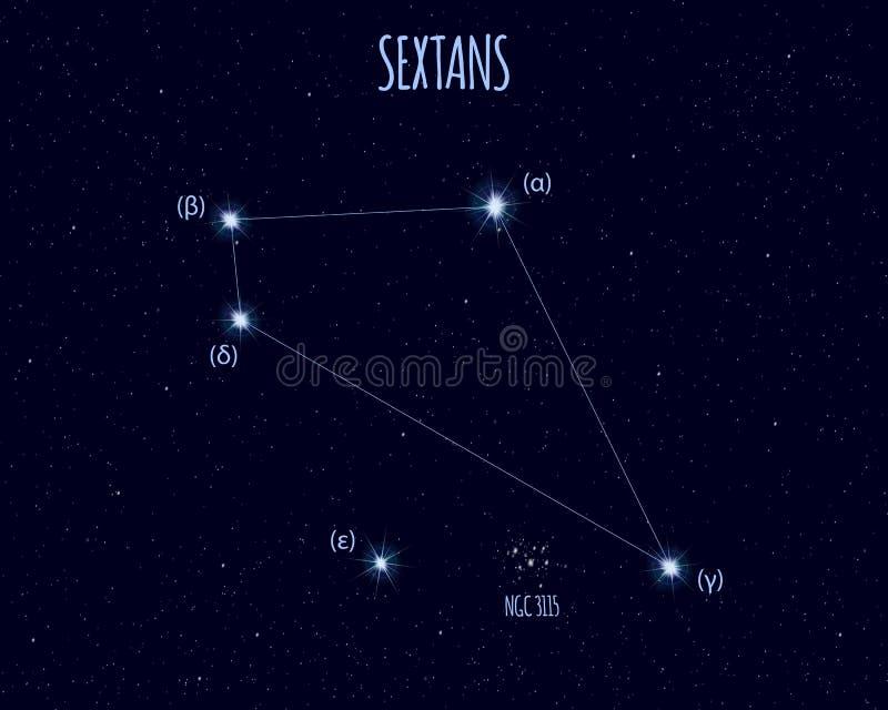 Constelação de Sextans, ilustração do vetor com os nomes de estrelas básicas ilustração royalty free