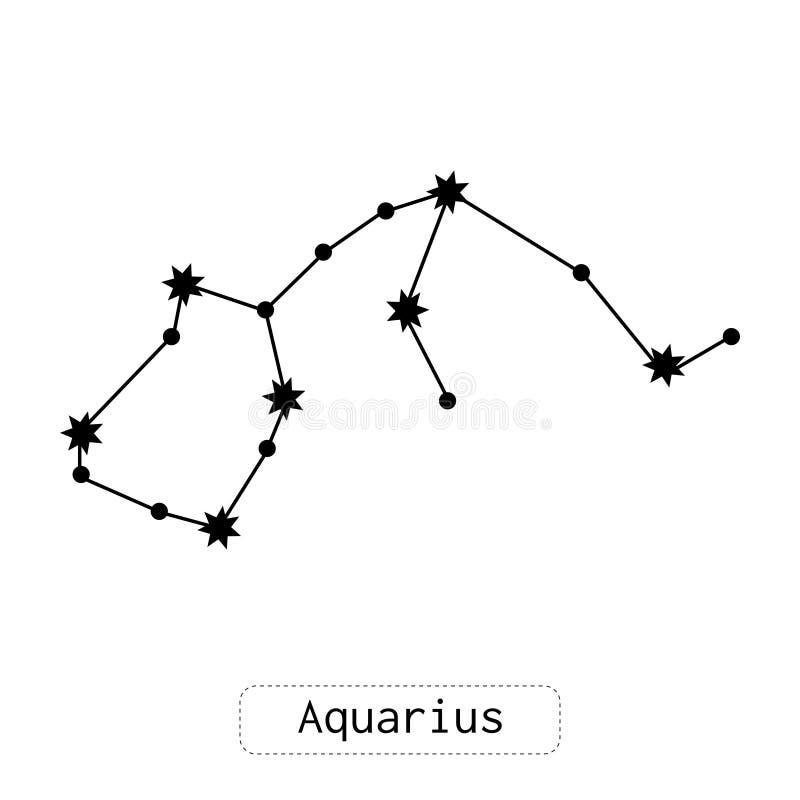 Constelação do Aquário Horóscopo, sinal do zodíaco Previsões e adivinhação Ilustração ou objeto liso Vetor ilustração stock