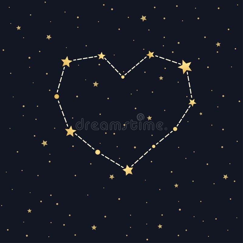 Constelação do coração no céu estrelado ilustração royalty free