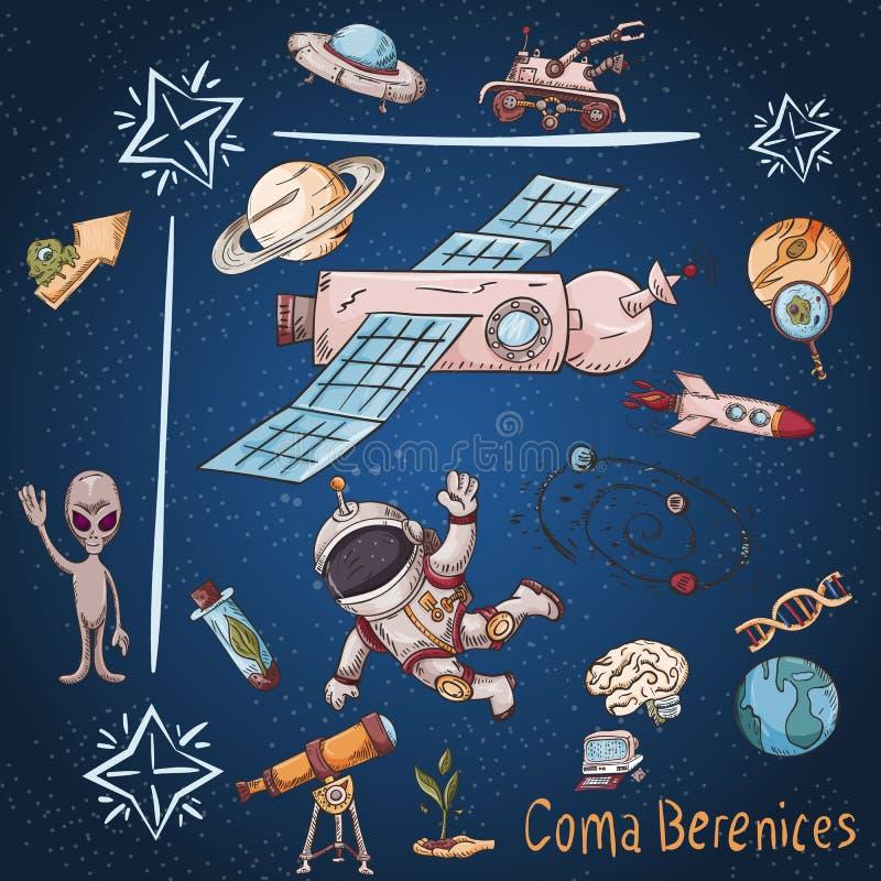 Constelação do espaço com as ilustrações de cor de name_14_and em um tema científico e fantástico ilustração do vetor
