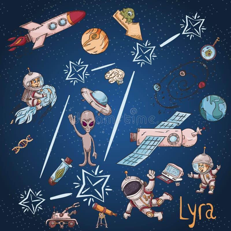 Constelação do espaço com as ilustrações de cor de name_22_and em um tema científico e fantástico ilustração stock