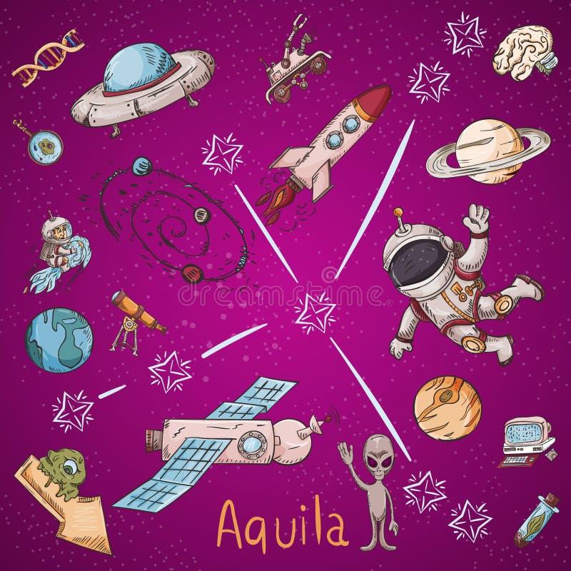 Constelação do espaço com as ilustrações de cor de name_3_and em um tema científico e fantástico ilustração royalty free