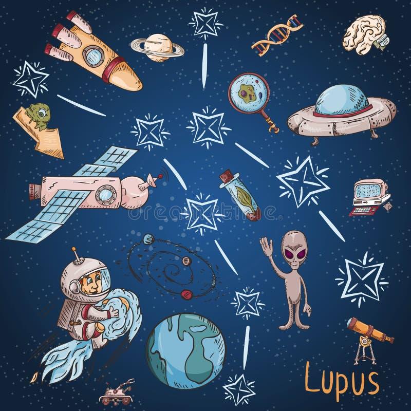 Constelação do espaço com as ilustrações de cor de name_20_and em um tema científico e fantástico ilustração royalty free