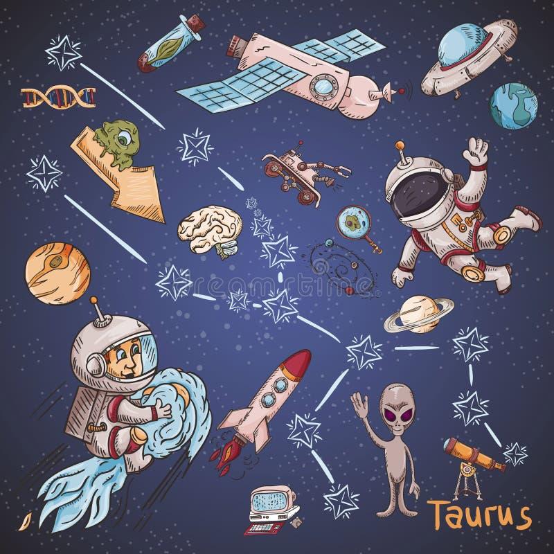 Constelação do espaço com as ilustrações de cor de name_24_and em um tema científico e fantástico ilustração stock