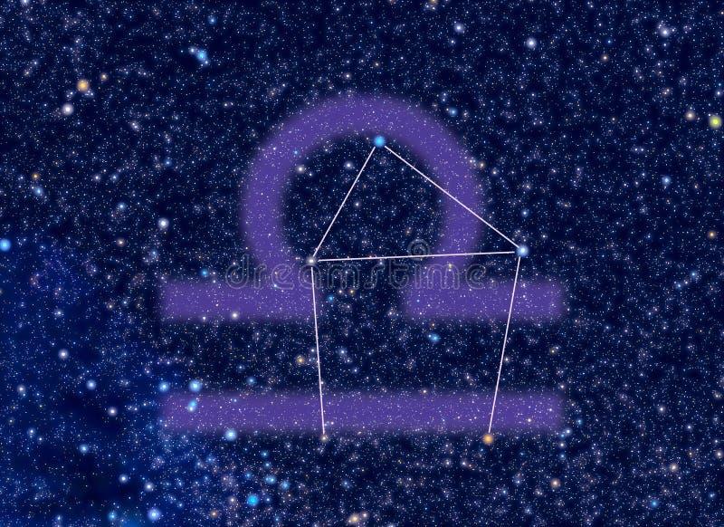 Constelação do zodíaco do Libra ilustração royalty free