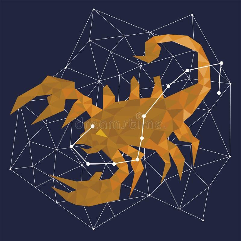 Constelação dourada em um fundo azul cercado por linhas e por estrelas ilustração royalty free