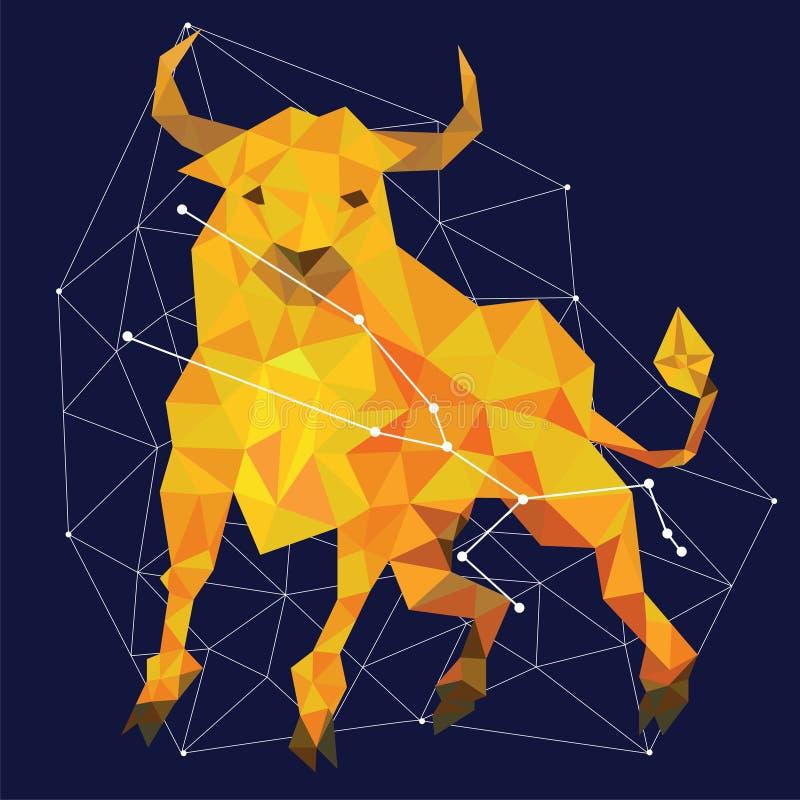 Constelação dourada em um fundo azul cercado por linhas e por estrelas ilustração stock