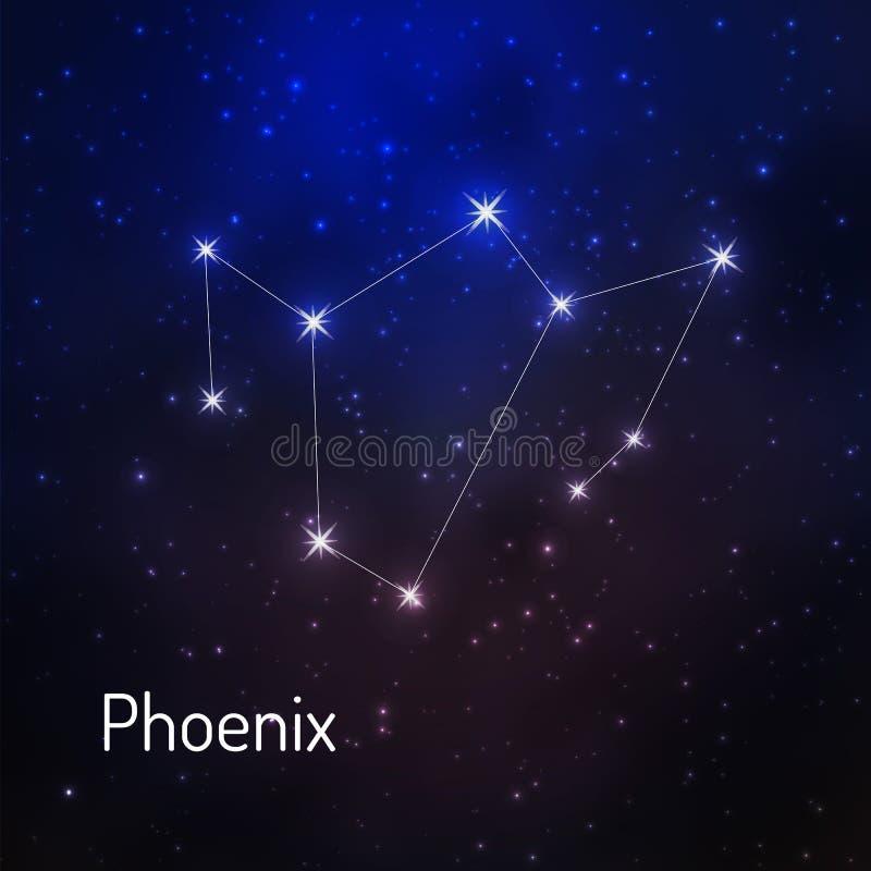 Constelação no céu estrelado da noite ilustração stock