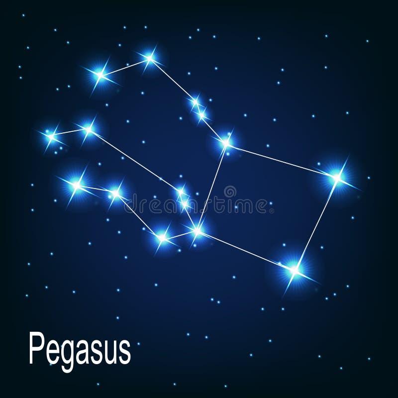 A constelação Pegasus protagoniza no céu noturno. ilustração royalty free
