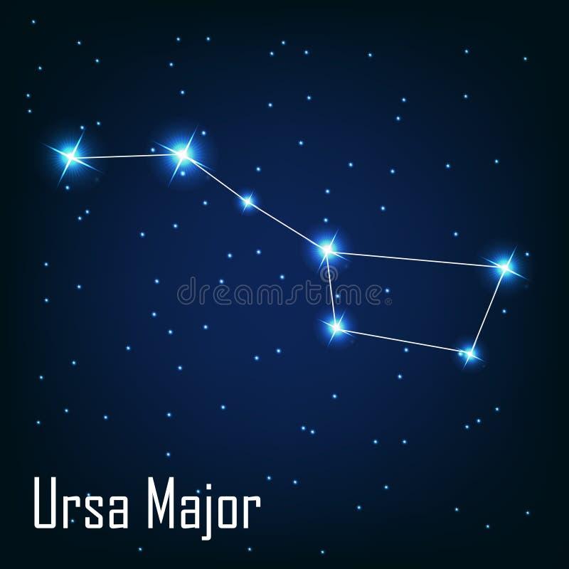 A constelação Ursa Major protagoniza na noite ilustração royalty free