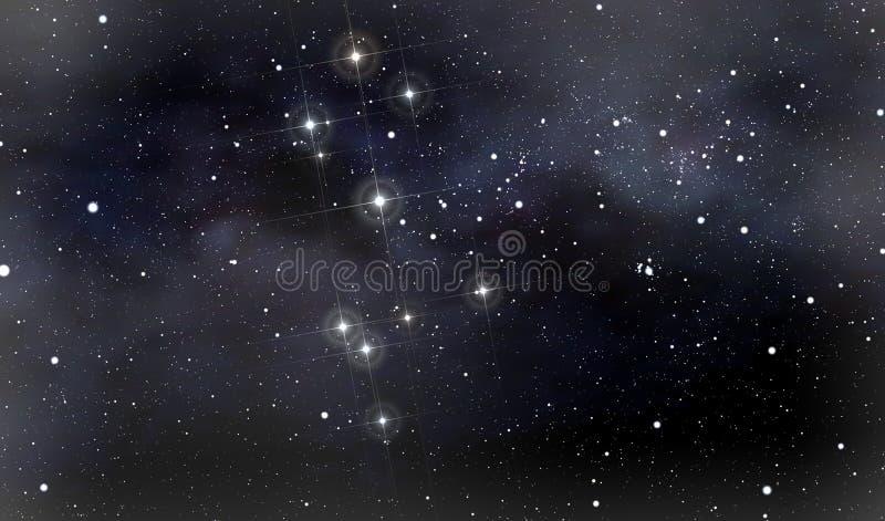 Constelações de cruz do sul e de Moscovo ilustração do vetor