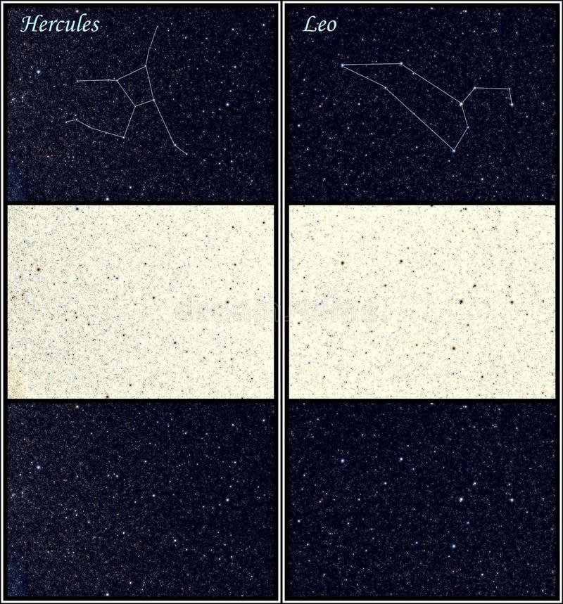 Constelações de Hercules e de Leo (o leão) ilustração royalty free