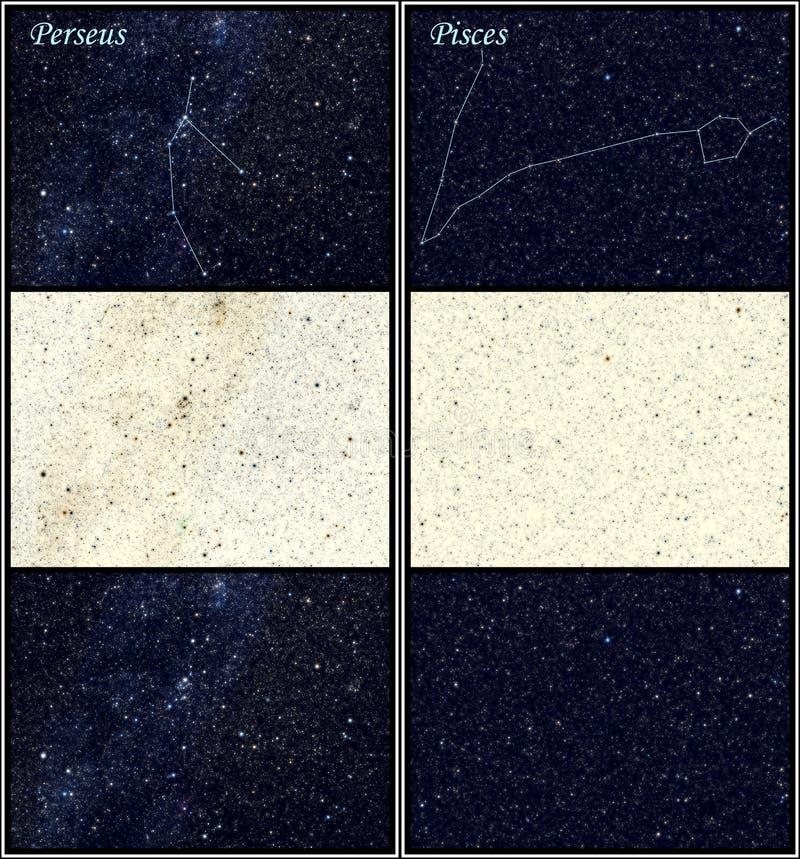 Constelações de Perseus e de Pisces (os peixes) ilustração royalty free