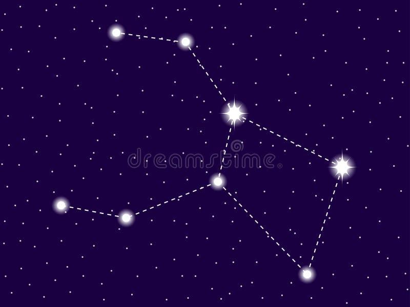 Constela??o da cratera C?u nocturno estrelado Sinal do zod?aco Conjunto de estrelas e de galáxias Espa?o profundo Vetor ilustração stock