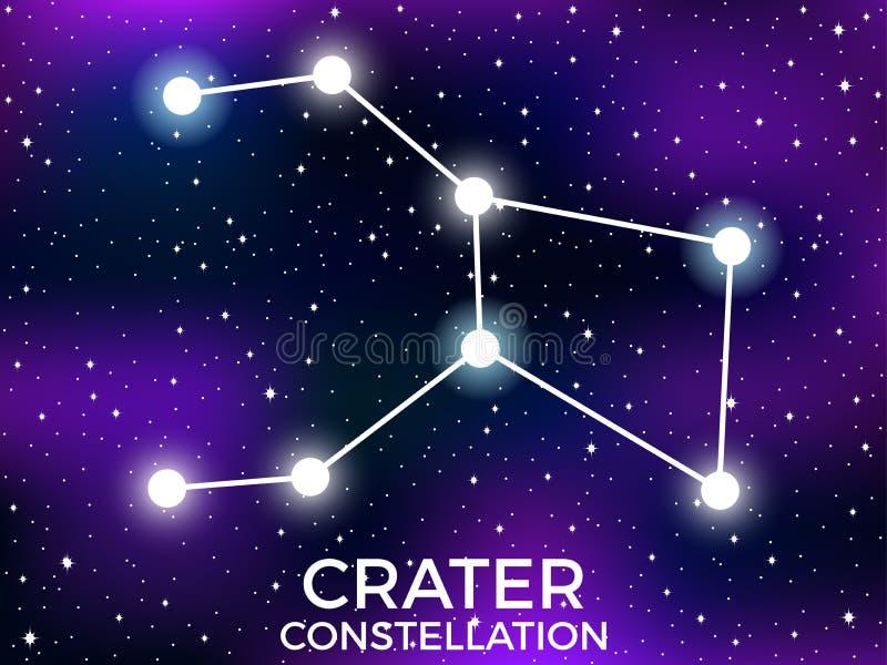 Constela??o da cratera C?u nocturno estrelado Sinal do zod?aco Conjunto de estrelas e de galáxias Espa?o profundo Vetor ilustração do vetor