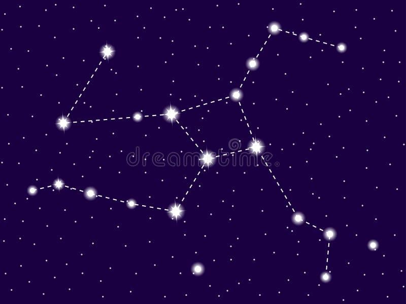 Constela??o de Hercules C?u nocturno estrelado Conjunto de estrelas e de galáxias Espa?o profundo Vetor ilustração stock