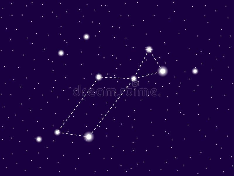 Constela??o de Lyra C?u nocturno estrelado Conjunto de estrelas e de galáxias Espa?o profundo Vetor ilustração royalty free