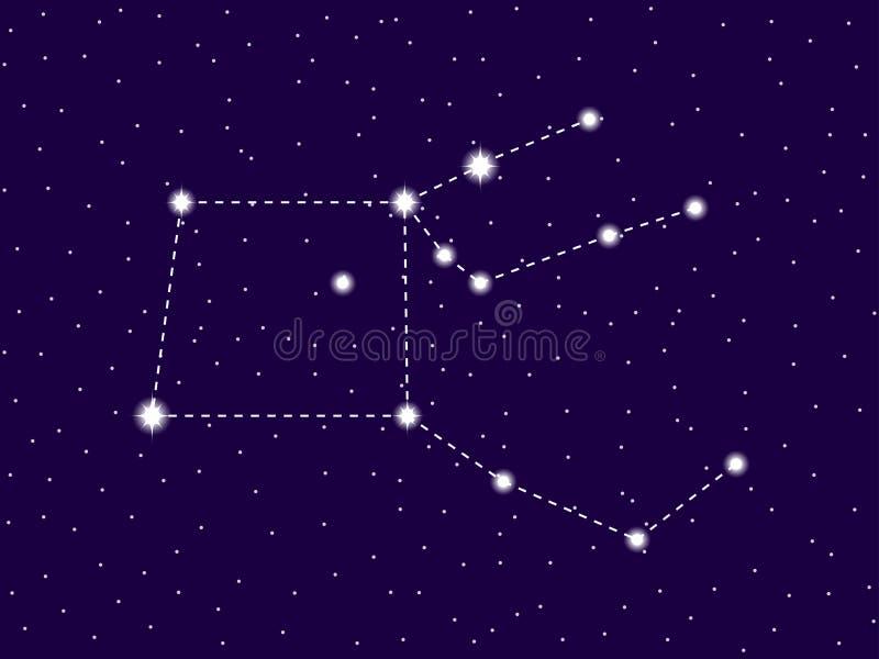 Constela??o de Pegasus C?u nocturno estrelado Conjunto de estrelas e de galáxias Espa?o profundo Vetor ilustração royalty free