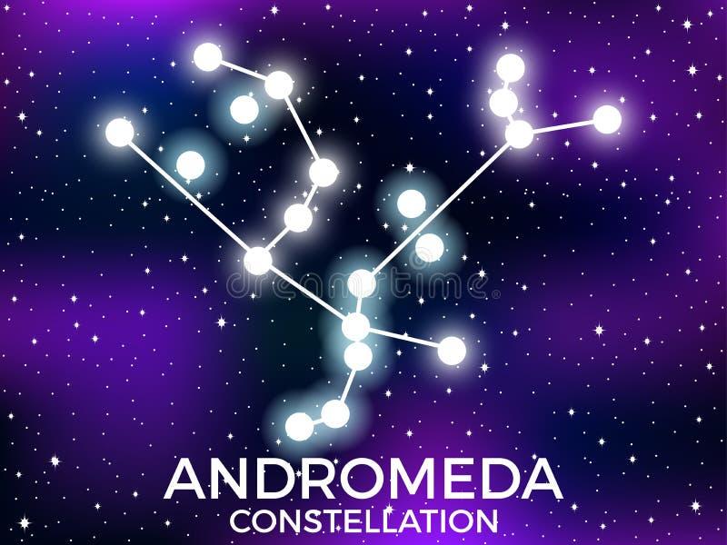 Constela??o do Andromeda C?u nocturno estrelado Conjunto de estrelas e de galáxias Espa?o profundo Vetor ilustração royalty free