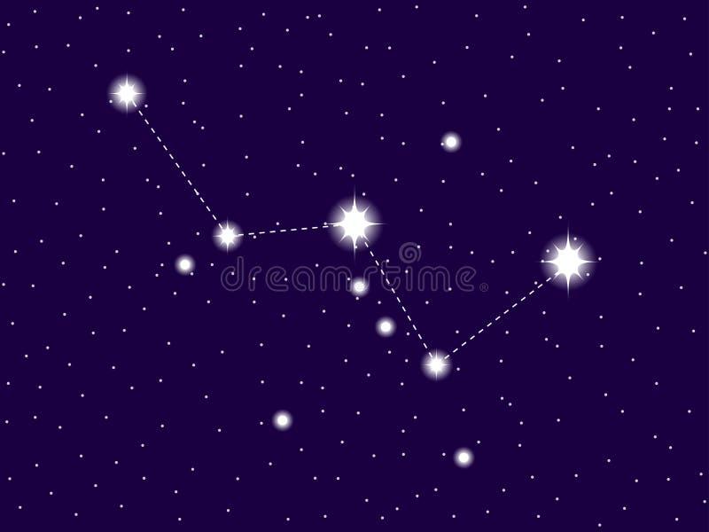 Constela??o do Cassiopeia Brilhante protagoniza no c?u noturno Vetor ilustração stock