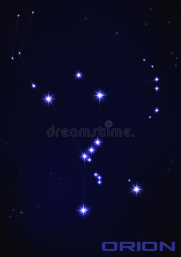 Constelación de la estrella de Orión stock de ilustración