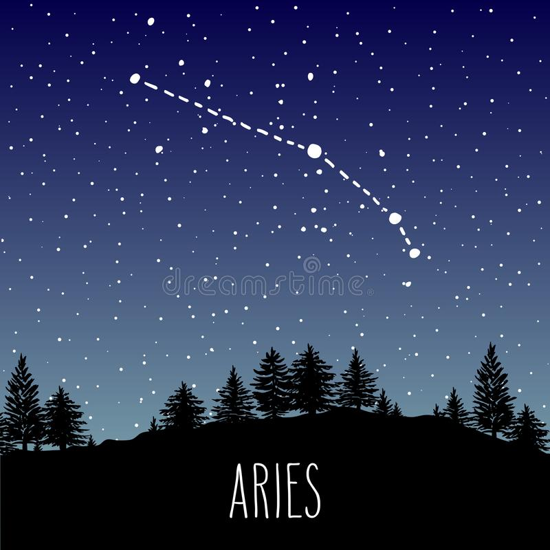 Constelación de la muestra de Aries Zodiac sobre el bosque de la noche libre illustration