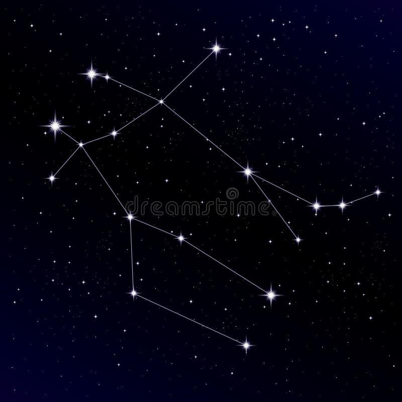 Constelación de los géminis ilustración del vector