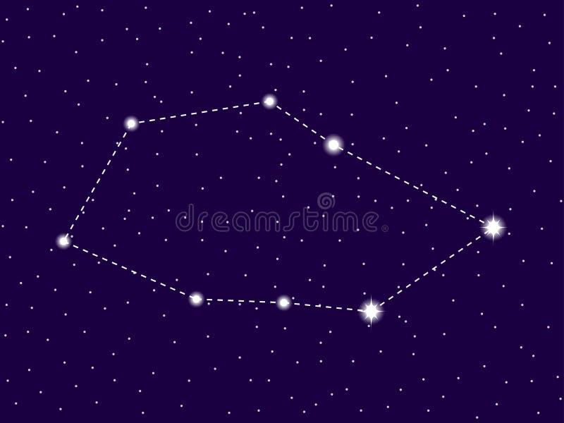 Constelación de los velos Cielo nocturno estrellado Racimo de estrellas y de galaxias Espacio profundo Vector ilustración del vector