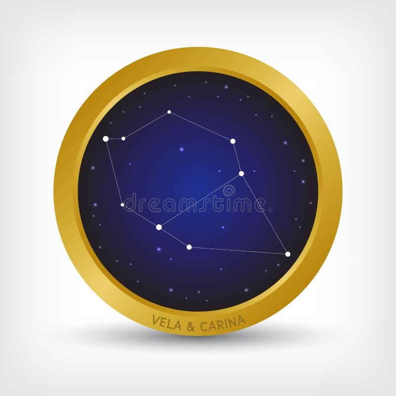 Constelación de los velos y de Carina en círculo de oro libre illustration