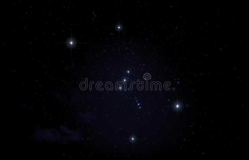 Constelación de Orión en cielo nocturno fotografía de archivo