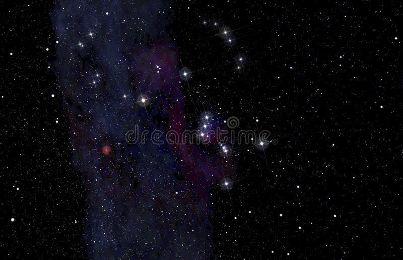 Constelación de Orión en el cielo profundo stock de ilustración