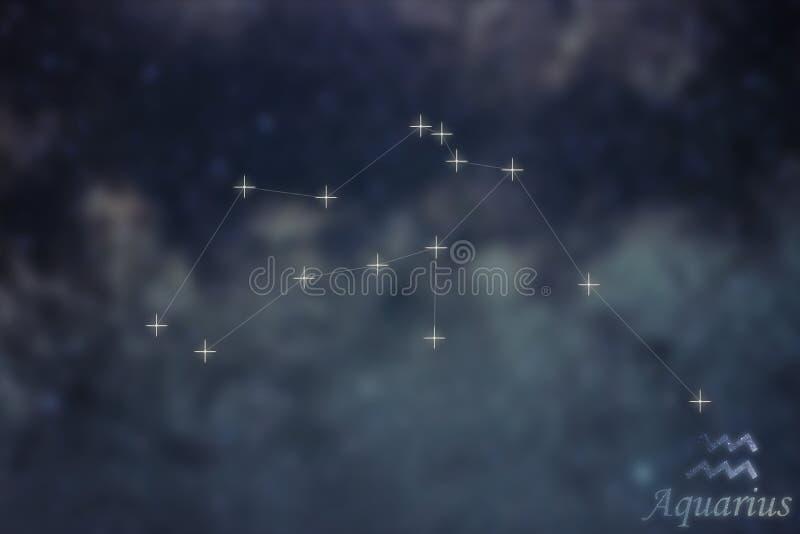 Constelación del acuario Líneas de la constelación del acuario de la muestra del zodiaco imágenes de archivo libres de regalías
